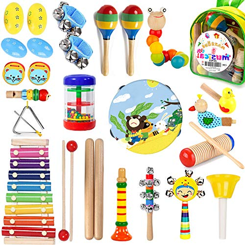 MAXZONE Kids Musical Instruments, 30Pcs 17 Types Wooden Instruments Tambourine Xylophone Toys for Kids Children, Preschool Educational Learning Musical Toys for Boys Girls with Backpack