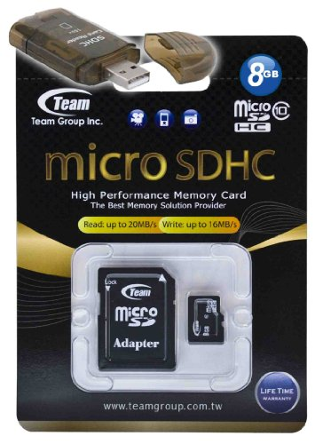 8GB Class 10 MicroSDHC Team High Speed 20MB/Sec Memory Card. Blazing Fast Card For Samsung E2652W Champ Duos E3210 Epic 4G. A free High Speed USB Adapter is included. Comes with Lifetime Warranty. -