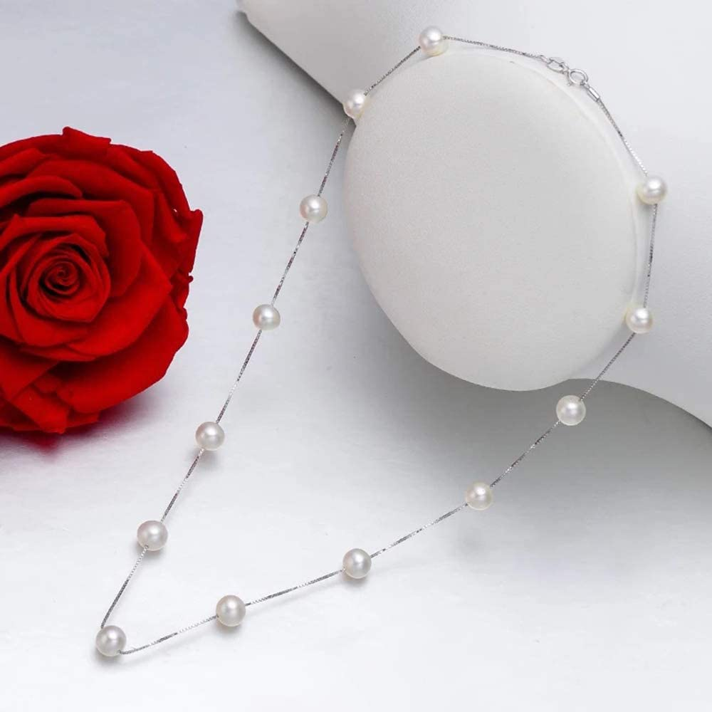 18 Collares De Perlas Christmas Gift for Her SAVIAURA 925 Sterling Silver Pearl Chain Necklace