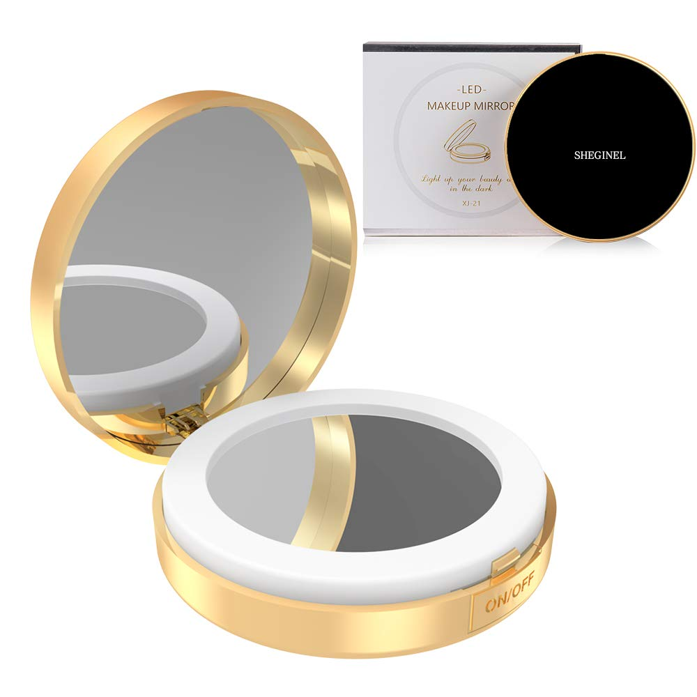 Travel Magnifying Lighted Makeup Mirror - Small Compact Mirror with Light and Magnification, Portable LED Lighted Mirror for Makeup and Touchups XUEJIYAN