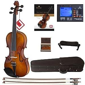 Cecilio CVN-300SOLIDWOOD ébano violín con D 'Addario PRELUDE, cuerdas, tamaño 1/2