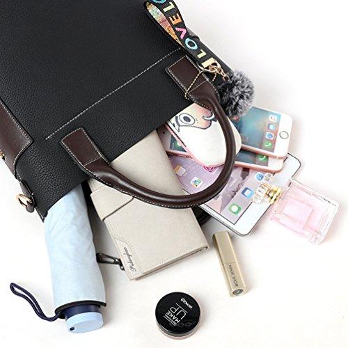 YouPue Frauen Stilvolle Handtaschen Eimer Taschen Damen Henkeltaschen Kunstleder Hairball Ornamente Schwarz 02 MAKXcw