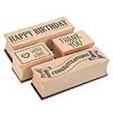 #10: 4-Piece Card Making Stamps Set - Wood Mounted Rubber Stamps for Card Making, DIY Crafts, Scrapbooking - Happy Birthday, Thank You, Congratulations, With Love