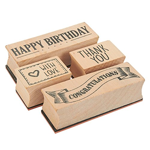4-Piece Card Making Stamps Set - Wood Mounted Rubber Stamps for Card Making, DIY Crafts, Scrapbooking - Happy Birthday, Thank You, Congratulations, with Love ()