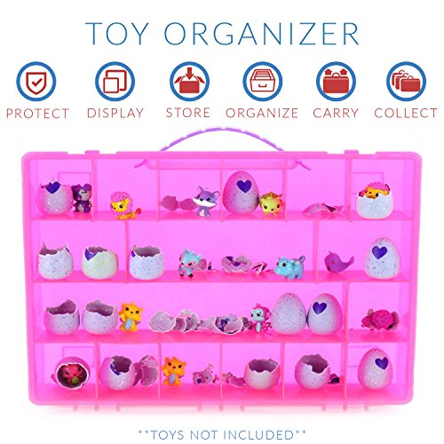 Life Made Better My Egg Crate Storage Organizer Compatible with The Hatchimals and Hatchimal Colleggtibles Brands - Durable Carrying Case for Mini Eggs, Easter Eggs & Speckled Eggs – Pink
