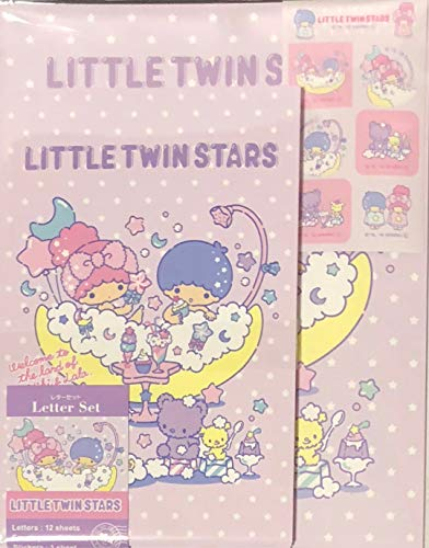 Sanrio Little Twin Stars Letter Set 12 Writing Paper + 6 Envelopes + 7 Stickers Stationary Japan (Bath time)