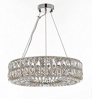 "Crystal Spiridon Ring Chandelier Chandeliers Modern / Contemporary Lighting Pendant 20"" Wide - Good for Dining Room, Foyer, Entryway, Family Room and More!"