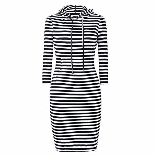 Eliacher Women's Casual Long Sleeve Striped Knitting Dress (XL)