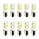 Yaojiaju AC 220-240V AC 110-130V (10PCS) BA15D 5W 52LED 2835SMD 400-500 Lm,Warm White Cool White,Dimmable LED Ceramics Lamp (Color : Warm White, Size : 110-130V)