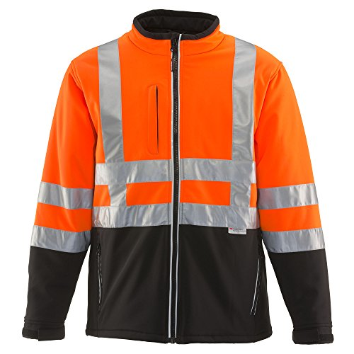 RefrigiWear Men's HiVis Soft Shell Jacket with High Visibilty Reflective Tape, Black/Orange XL (Orange Nasa Flight Suit)
