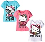 Hello Kitty Girls' Little Girls' 3 Pack T-Shirt Shirt, Multi Color Free Spirit, 4