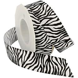 Morex Ribbon Zebra Fest Grosgrain Ribbon, 1-1/2-Inch by 20-Yard, Black