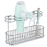 mDesign Bathroom Wall Mount Hair Care & Hot Styling Tool Organizer Storage Basket for Hair Dryer, Flat Iron, Curling Wand, Hair Straighteners, Brushes - Durable Steel in Chrome Finish