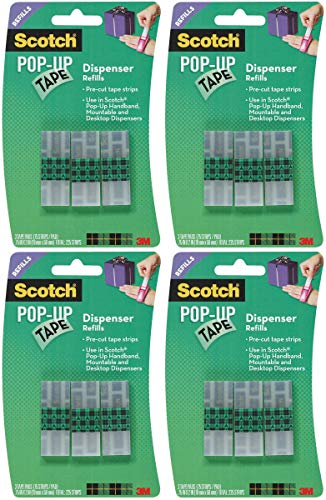 Scotch Pop-Up Tape Refills, 3/4 x 2 Inches, 75 Strips/Pad, 3 Pads/Pack (99-G) Pack of 4