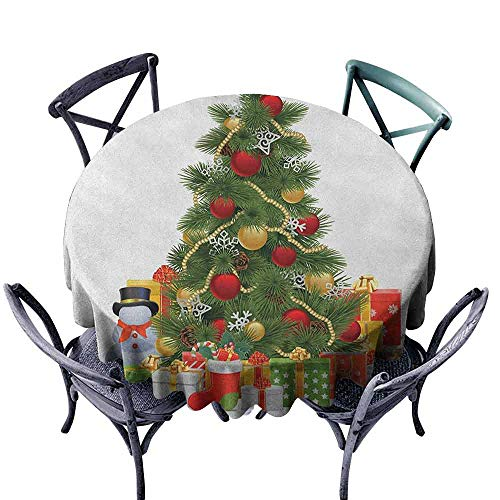 duommhome Christmas Washable Table Cloth Xmas Tree with Vivid Balls and Snowflakes New Year Celebration Theme Art Easy Care D63 Red Green Yellow