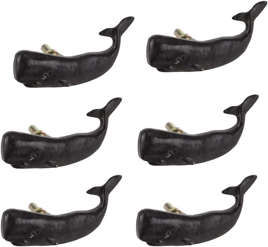 Moby Dick Specialties Set of 6 Black Painted Cast Iron Whale Drawer Pull Rustic Furniture Decor Knob