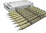 Sakura Micron Pigma Ink drawing pens for manga drawing, scrapbooking supplies - 8 artist pens - 8 pack (04, 8 pct set, black)