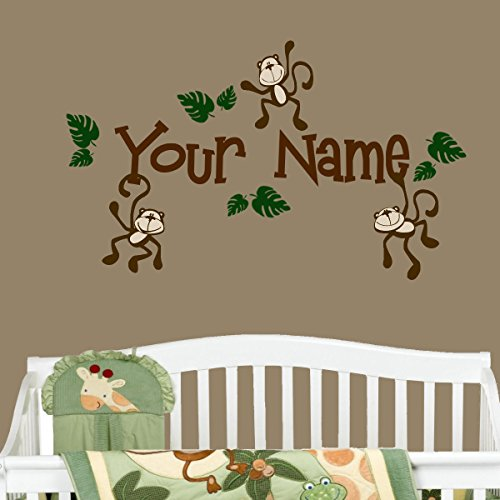Monkeys with Personalized Name Nursery Wall Decal Set Great Gift (Brown) ()