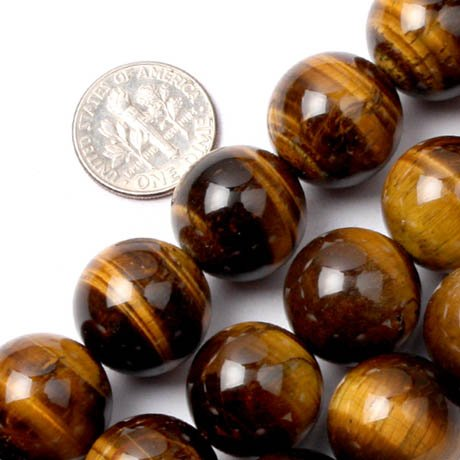 16 Mm Tiger (GEM-inside 16mm Round Tiger Eye Stone Beads Strand 15)