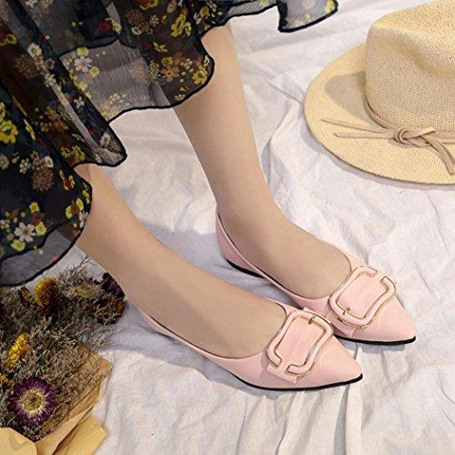 Upxiang Mode Spitz Flache Schuhe, OL Business Frauen Schuhe, Damen Einfarbiger Metallring Einzigen Schuhe, Indoor & Outdoor Weiche Slip-on Casual Bootsschuhe von Rosa
