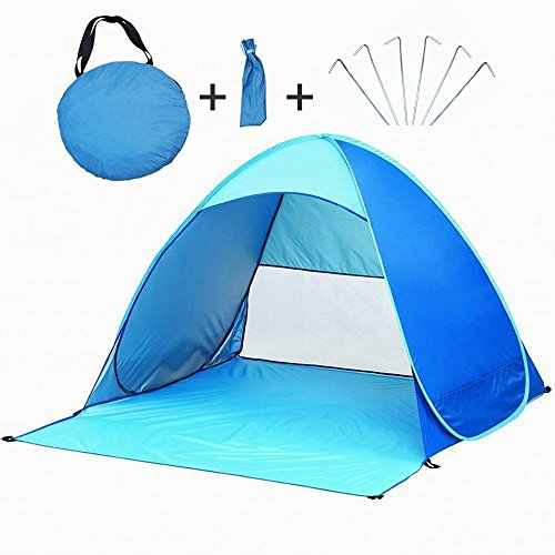 Portable Beach Tent, TISSA Automatic Pop Up Instant Beach Tent Camping Sun Shelters, Ultralight for 2-3 people for Outdoor Activities (Blue)