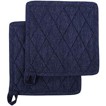Cote De Amor Set of 2 Denim Pot Holders Bulk Heat Resistant and Machine Washable, 100% Cotton Kitchen Hot Pads Pot Holders Blue