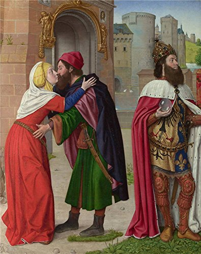 Polyster Canvas ,the Best Price Art Decorative Canvas Prints Of Oil Painting 'Master Of Moulins (Jean Hey) Charlemagne And The Meeting At The Golden Gate ', 18 X 23 Inch / 46 X 58 Cm Is Best For Bathroom Decor And Home Decoration And Gifts