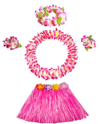 40cm pink grass skirt with flowers bracelets headband necklace Hula set