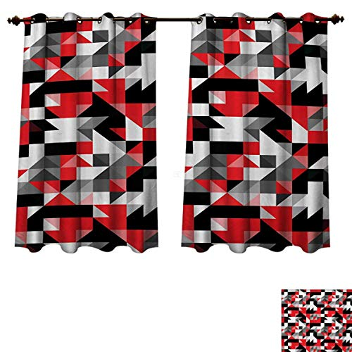 RuppertTextile Red and Black Bedroom Thermal Blackout Curtains Abstract Geometric Half Triangles Squares Maze Inspired Image Blackout Draperies for Bedroom Charcoal Grey and White W55 x L39 inch (Square Black Valance)
