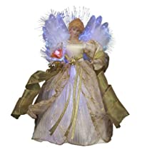 Kurt Adler CUL Fiber Optic LED Angel Christmas Treetop Figurine, 12-Inch, Ivory and Gold