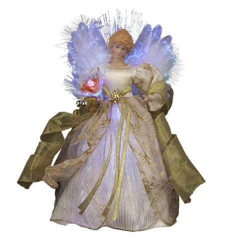 Kurt Adler CUL Fiber Optic LED Angel Christmas Treetop Figurine, 12-Inch, Ivory and Gold (Animated Angel Tree Topper With Moving Wings)