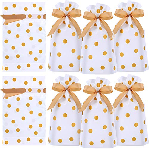 Holiday Drawstring Goody Bags - Frienda 30 Packs Treat Bags with Drawstring Candy Bags, Plastic Favor Bag Drawstring Cookie Bags for Christmas Wedding Party Birthday Engagement Holiday Favor (Gold Polka Dot Print)