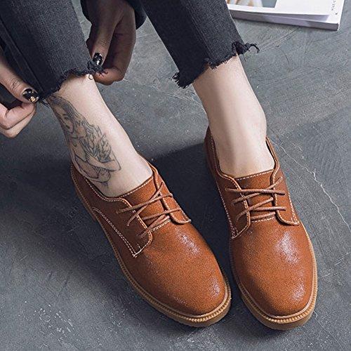 52bdc60bbe9542 ... Chaussures Oxfords Pour Femmes T-juillet - Rétro Vintage Lacets Talons  Bas Western Cravate Marron