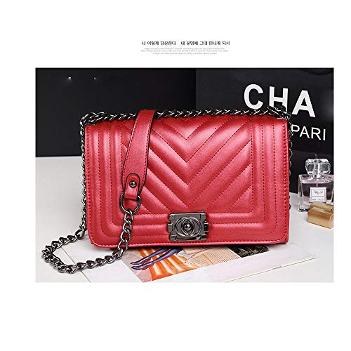- PU New Women's Bag Small Fragrance Wind Chain Bag Fashion one-Shoulder Crossbody Bag Large Bag-red