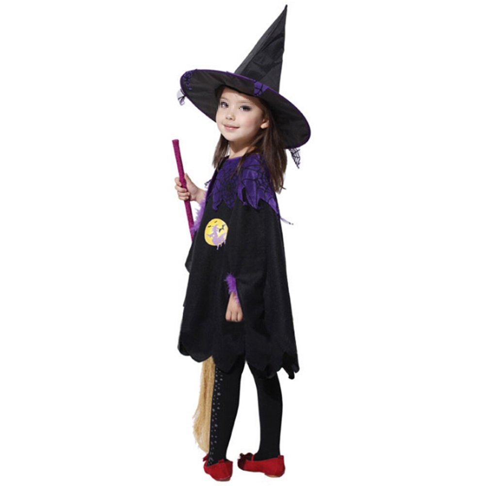Cloak + Purple Mesh Hat BESTOYARD Halloween Witch Cloak Costume Dress Party Cloak Baby Girl Cosplay Clothing