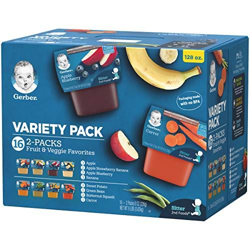 51qhhfz5AzL - Gerber Purees 2nd Foods Veggie & Fruit Variety Pack, 8 Ounces, Box Of 16 (Packaging May Vary)