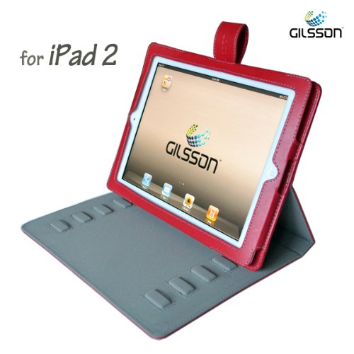 Apple iPad 2 PU Leather Multi-Angle Adjustable Stand / Carrying Case for Apple iPad 2 3G Wifi 16GB 32GB 64GB made by Gilsson (RED COLOR)