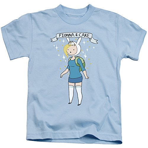 Adventure Time Fionna & Cake Unisex Youth Juvenile T-Shirt for Girls and Boys, Large (7) Light Blue (Fionna And Cake Shirt)