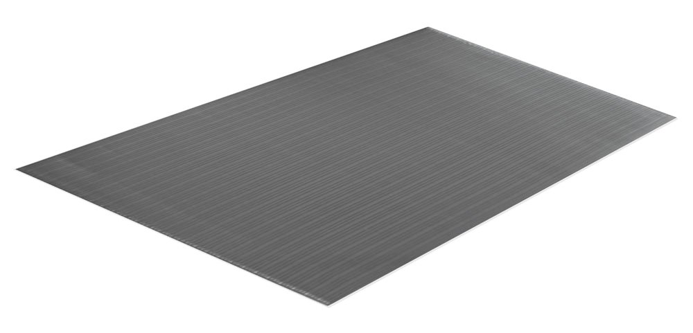 Comfort Step 3/8'' Anti-Fatigue Mat with Ribbed Emboss, Grey, 2' x 3'