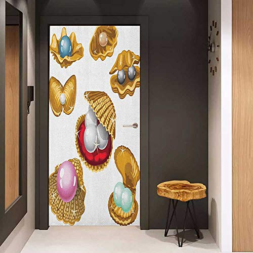 (Onefzc Soliciting Sticker for Door Pearls Set of Open Shells with Different Type of Pearls Wealth Ancient Gemstone of The Sea Print Mural Wallpaper W38.5 x H77 Multi)
