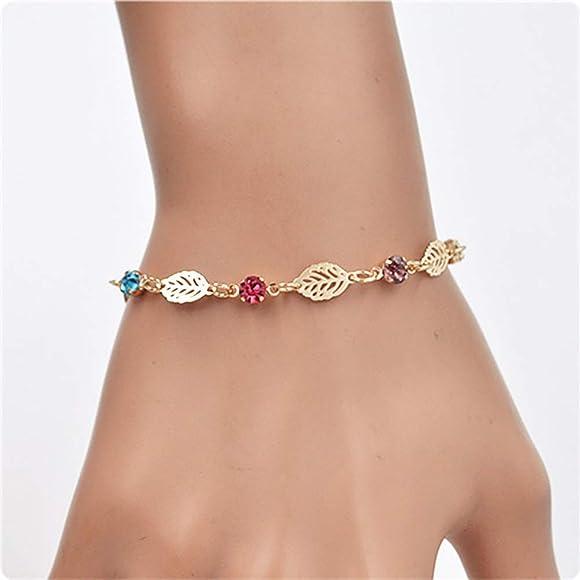 iodvfs Mode Femmes Plantes Feuille Creuse Motif Strass Bracelet Bijoux D/écor