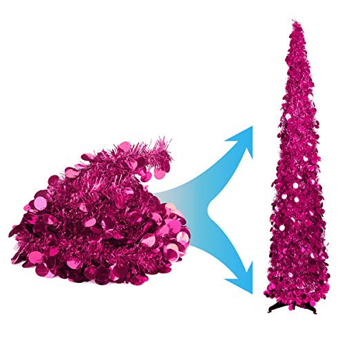Joy-Leo 5 Foot Pink Pop-up Collapsible Tinsel Pencil Indoor Christmas Tree with Shiny Sequins for Fireplace & Party & Office & Classroom, Purple Beach Folding Artificial Xmas Trees for Home Decoration