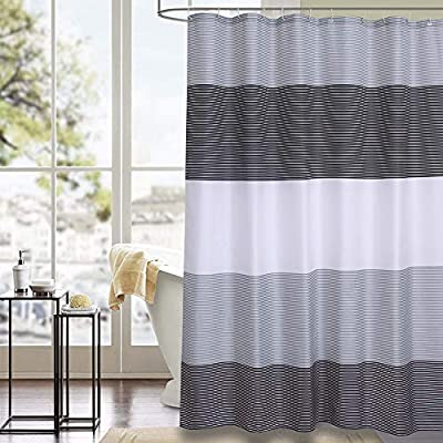 """Julifo Shower Curtain Black and Grey Polyester Fabric Bathroom Curtain Waterproof Thick Shower Curtains,72 X 72 INCH (Black & Grey) - 1, 100% Polyester, include 12 rust metal grommets with a reinforced top-header,12 Plastic Hooks , Measures 72"""" x 72""""(180CM*180CM) 2,Good Waterproof-water glides off and dries quickly. Water drops beads up just like a seed pearl in rolling on the lotus leaves. Keep your bathroom clean . 3,Classic Color and Print -It will match well with various color palates of towels, rugs, bathroom mats and any other bathroom accessories. - shower-curtains, bathroom-linens, bathroom - 51qhi82zFuL. SS400  -"""
