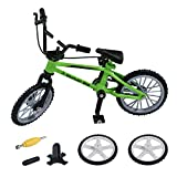 Alloy Mini BMX Finger Mountain Bikes Toys + 2PCS Spare Tire Extreme Sports Finger Bicycle Boy Toy Creative Game Gift for Children (Green)