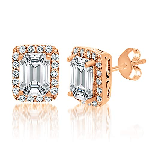 (MIA SARINE 1-3/8 Cttw Emerald Cut Cubic Zirconia Stud Earrings for Women in Rose Gold Plated 925 Sterling Silver)