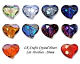 LK-CRAFTS Wholesale Lot 40pcs Heart Crystal Beads 10 colors with Storage Box, Size 20mm.
