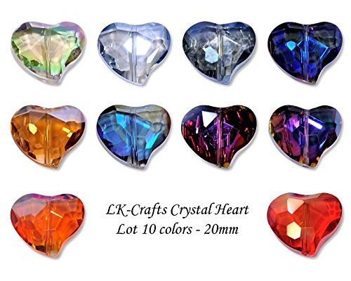 LK-CRAFTS Wholesale Lot 40pcs Heart Crystal Beads 10 colors with Storage Box, Size 20mm. -