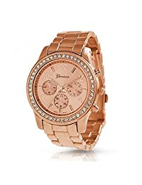 Geneva Platinum Women's 9073.RoseGold.Gold Two-Tone Metal Quartz Watch with Silver Dial