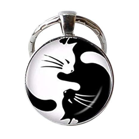Yin Yang Gargantilla Llavero Dos Ying Yang Gatos Llavero Kitty Joyería Ocho Diagramas Llavero