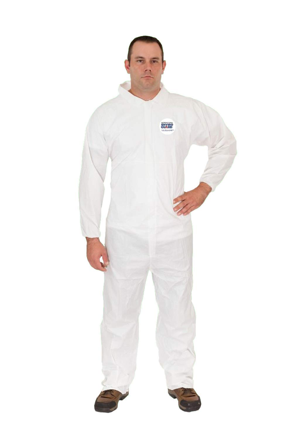 International Enviroguard ValuGuard MP Light Duty Disposable White Coverall Economical Protective Clothing for Non Hazardous Paint and Dust with Elastic Wrist & Open Ankle (L, Case of 25)